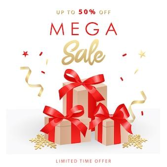 Banner di vendita mega. saldi e sconti con nastri, fiocchi, scatole regalo