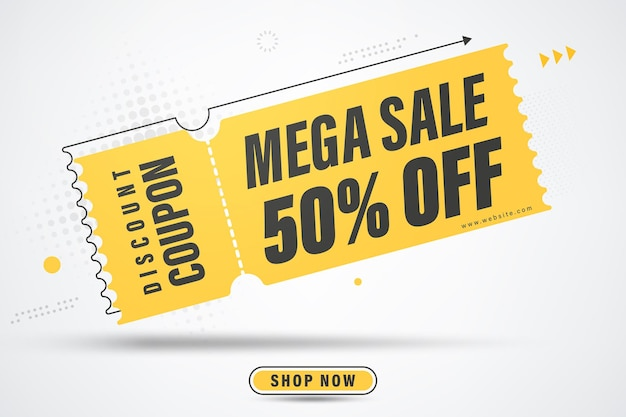 Mega vendita banner template design sale speciale fino al 50% di sconto.