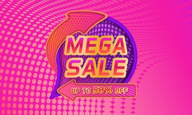Modello di banner sconto mega vendita con sfondo sfumato mezzitoni