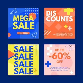 Raccolta di post di instagram di vendita mega Vettore Premium