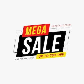 Illustrazione vettoriale del modello di promozione dello sconto del distintivo dell'etichetta di vendita mega