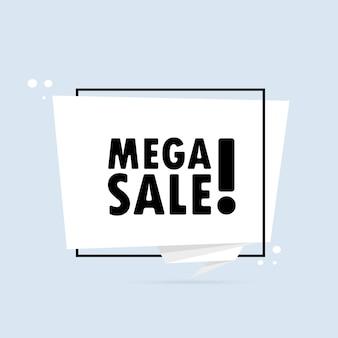 Mega vendita. insegna del fumetto di stile di origami. poster con testo mega vendita. modello di disegno dell'autoadesivo.