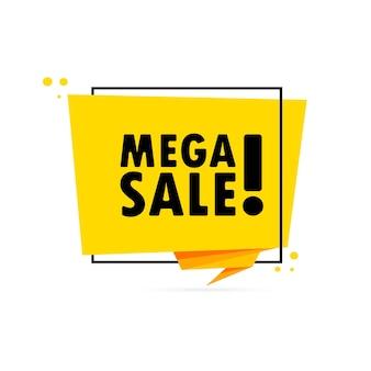 Mega vendita. insegna del fumetto di stile di origami. modello di disegno adesivo con testo di vendita mega. vettore env 10. isolato su priorità bassa bianca.