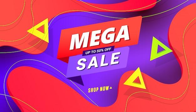Mega vendita dello shopping giorno banner sfondo con forme di gradiente di velocità poligonale su sfondo di colore
