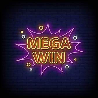 Mega win insegne al neon stile testo vettoriale