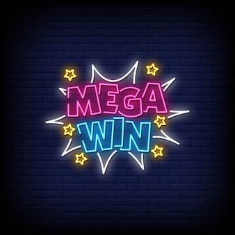 Testo in stile mega win neon signs