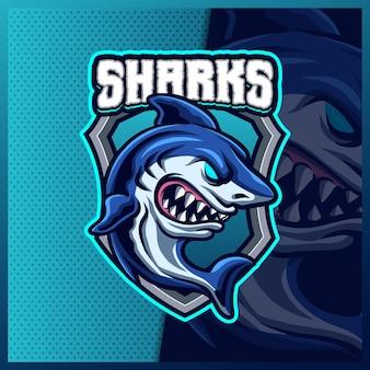 Megalodon shark beast mascotte esport logo design illustrazioni modello, logo shark beast