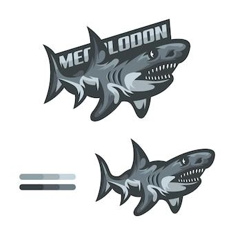 Illustrazione di squalo megalodonte