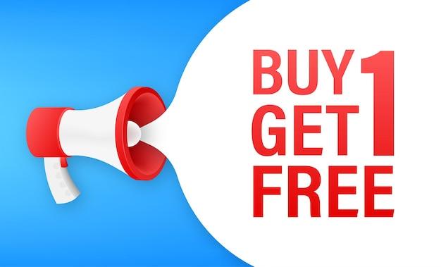 Banner megafono, concetto di business con testo acquista 1 prendi 1 gratis. etichetta di vendita. illustrazione di riserva di vettore.