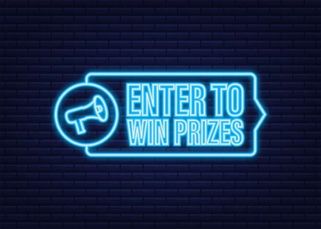 Banner megafono, concetto di business con testo invio per vincere premi. icona al neon. illustrazione di riserva di vettore.