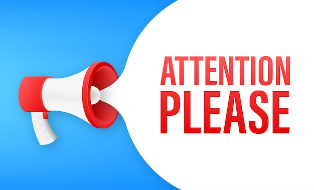Banner megafono con attenzione per favore attenzione rossa per favore firma icona Vettore Premium