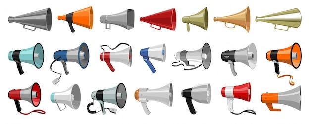 Icona stabilita del fumetto del megafono. illustrazione altoparlante su sfondo bianco. fumetto imposta icona megafono.