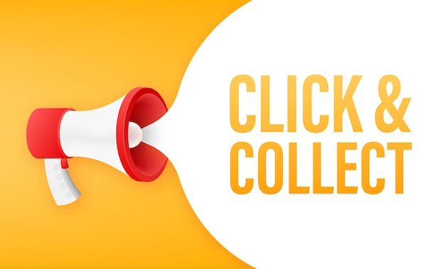 Megafono clicca e raccogli banner. stile piatto. icona di vettore del sito web. illustrazione di riserva di vettore.