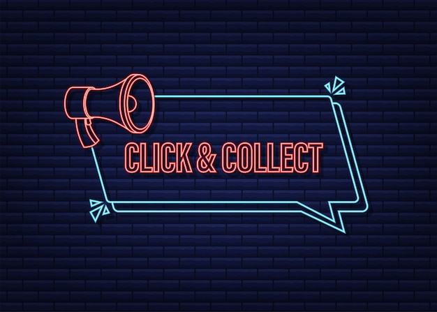 Megafono clicca e raccogli banner al neon. stile piatto. icona di vettore del sito web. illustrazione di riserva di vettore.