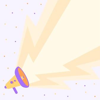Disegno del megafono che produce un grande fulmine elettrico che fa un nuovo disegno di megafono di annuncio