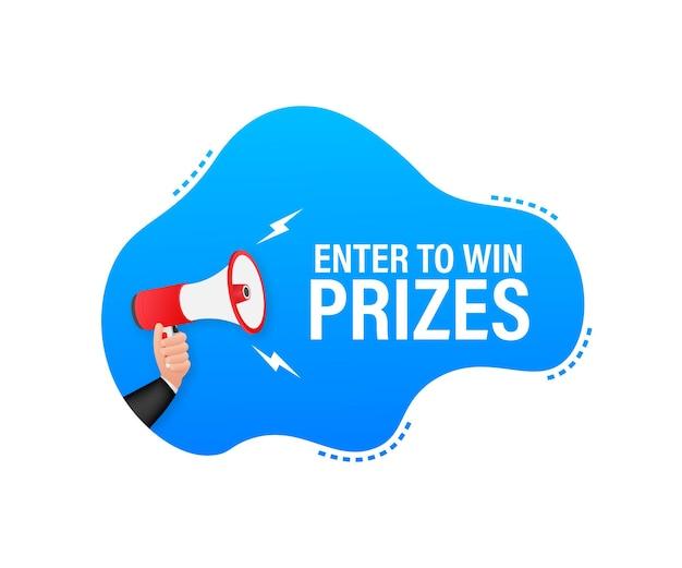 Megafono a mano, concetto di business con testo invio per vincere premi