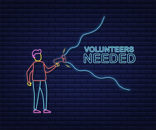 Megafono a mano, concetto di business con volontari di testo necessari. stile neon. illustrazione di riserva di vettore.