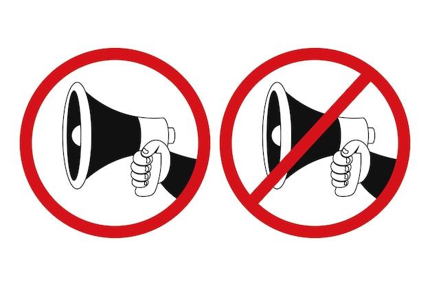 Megafono in mano segno vettoriale impostato isolato su uno sfondo bianco.