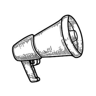 Illustrazione del megafono nello stile dell'incisione isolato su priorità bassa bianca. elemento di design per poster, biglietti, banner, volantini. illustrazione vettoriale