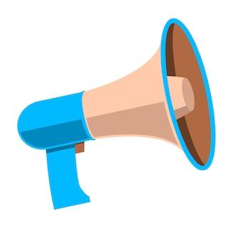 Illustrazione del megafono in stile piano isolato su priorità bassa bianca. elemento di design per poster, biglietti, banner, volantini. illustrazione vettoriale