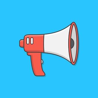 Illustrazione del megafono. altoparlante toa megafono piatto