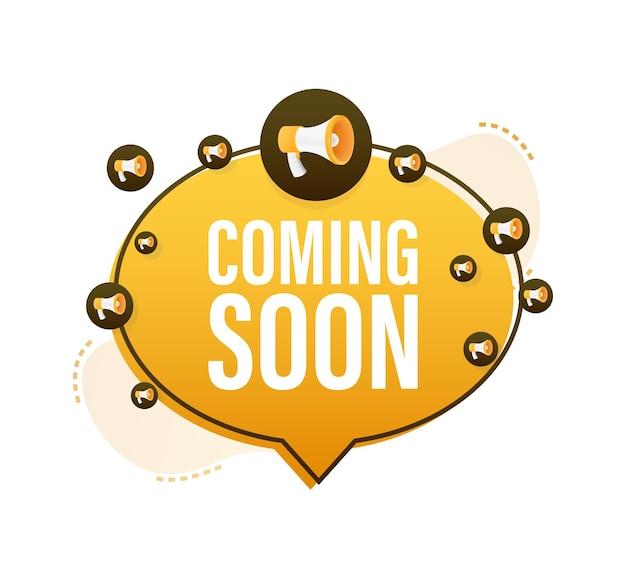 Etichetta megafono con prossimamente. bandiera del megafono. web design. illustrazione di riserva di vettore.
