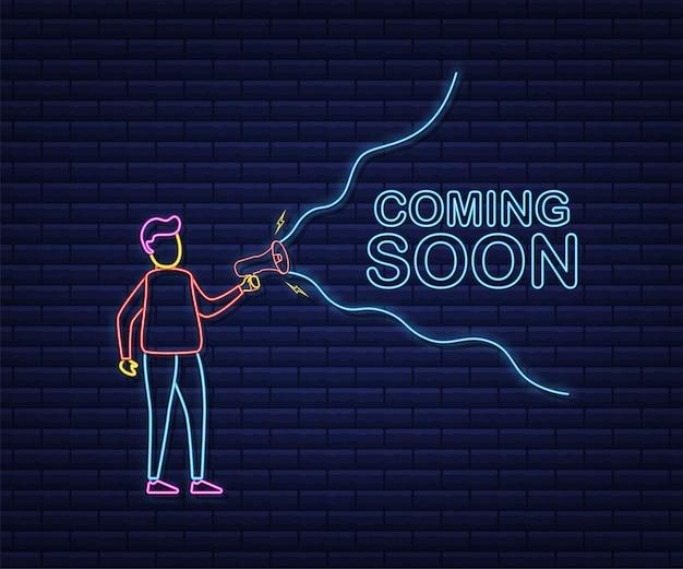 Etichetta megafono con prossimamente. stile neon. bandiera del megafono. web design. illustrazione di riserva di vettore.