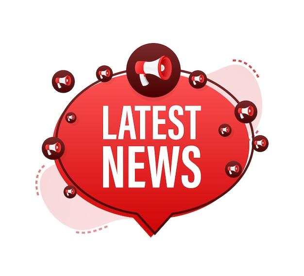 Etichetta megafono con le ultime notizie. bandiera del megafono. web design. illustrazione di riserva di vettore.