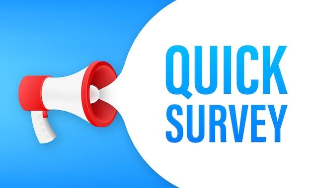 Etichetta megafono con sondaggio rapido. bandiera del megafono. web design. illustrazione di riserva di vettore.