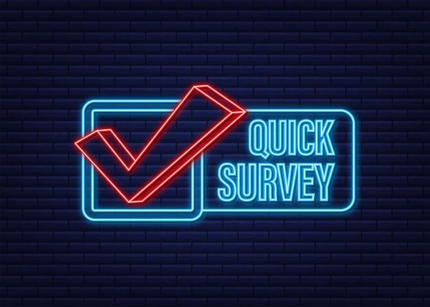 Etichetta megafono con sondaggio rapido icona neon banner megafono web design