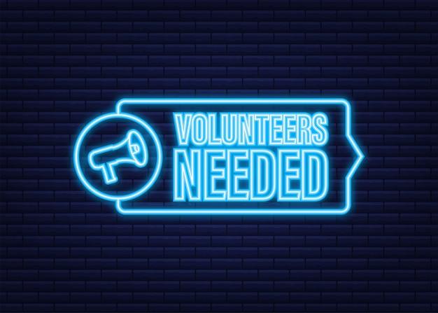 Etichetta megafono con volontari necessari. bandiera del megafono. icona al neon. web design. illustrazione di riserva di vettore.