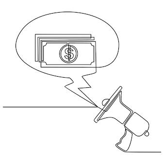Megafono altoparlante persone annunciano broadcasting cashback target marketing vendita soldi