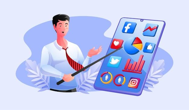 Megafono e icone dei social media di whatsapp