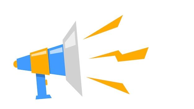 Megafono su sfondo bianco altoparlante illustrazione vettoriale