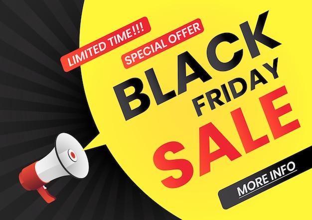 Megafono con messaggio di vendita del black friday sul fumetto giallo. poster banner web venerdì nero.