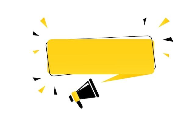 Megafono con banner fumetto vuoto. altoparlante. può essere utilizzato per affari, marketing e pubblicità. vettore env 10. isolato su priorità bassa bianca.