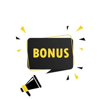 Megafono con banner fumetto bonus. altoparlante. può essere utilizzato per affari, marketing e pubblicità. vettore env 10. isolato su priorità bassa bianca.