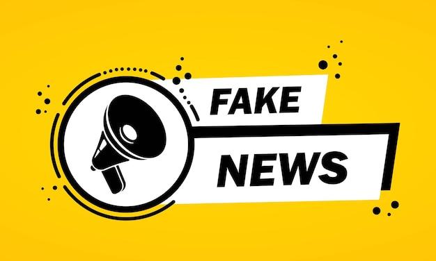 Megafono con banner a fumetto di notizie false. altoparlante. etichetta per affari, marketing e pubblicità. vettore su sfondo isolato. env 10.