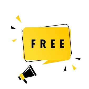 Megafono con banner fumetto gratuito. altoparlante. può essere utilizzato per affari, marketing e pubblicità. vettore env 10. isolato su priorità bassa bianca.