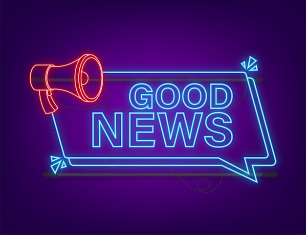 Megafono con buone notizie. bandiera del megafono. web design. stile neon. illustrazione di riserva di vettore.