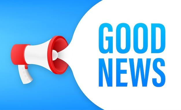 Megafono con buone notizie. bandiera del megafono. web design. illustrazione di riserva di vettore.