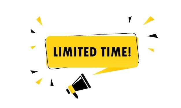 Megafono con banner a fumetto a tempo limitato. altoparlante. può essere utilizzato per affari, marketing e pubblicità. vettore eps 10. isolato su sfondo bianco