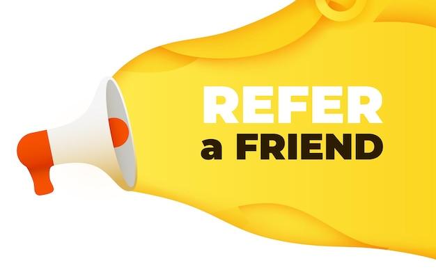 Megafono con riferire un concetto di illustrazione vettoriale parola amico friend