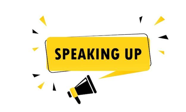 Megafono con discorso bolla banner. altoparlante. può essere utilizzato per affari, marketing e pubblicità. vettore env 10. isolato su priorità bassa bianca.