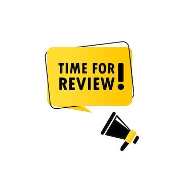 Megafono con tempo per l'insegna del fumetto di revisione. altoparlante. può essere utilizzato per affari, marketing e pubblicità. vettore env 10. isolato su priorità bassa bianca.
