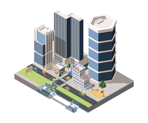 Isometrica dettagliata del paesaggio della via di megapolis. vista del quartiere della città moderna con strade e stazione della metropolitana.