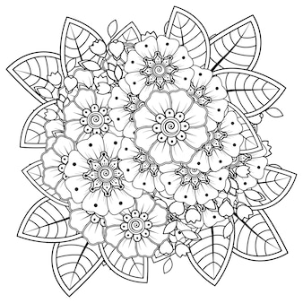 Composizione floreale mehndi. ornamento decorativo. pagina del libro da colorare di tiraggio della mano di contorno.