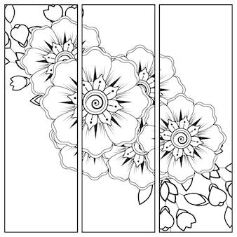Decorazione floreale mehndi. ornamento decorativo in stile etnico. pagina da colorare.
