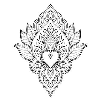 Fiore mehndi. decorazione in etnico orientale. ornamento di doodle.