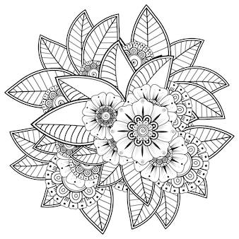 Decorazione floreale mehndi in stile etnico orientale, indiano. ornamento di doodle. illustrazione di tiraggio della mano di contorno. pagina del libro da colorare.